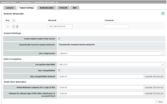 OpenVPN Client menu